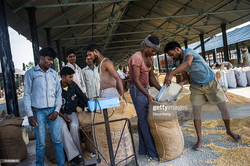 Farmers weigh their corn grain and pack them in gunny sacks at a grain market in the district of Burhanpur, Madhya Pradesh, India, on Friday, Oct. 19, 2012. India is Asia's biggest grower of corn after China. Photographer: Sanjit Das/Bloomberg via Getty Images