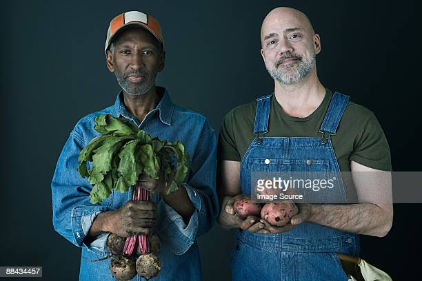 Farmers with vegetables