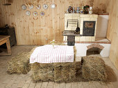Farmhouse kitchen with haybales for table