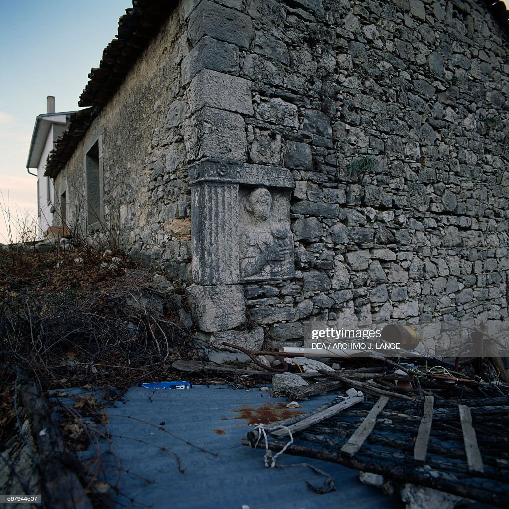 Farmhouse made of recycled material from a Roman city archaeological area of the roman city of Saepinum Sepino Molise Italy