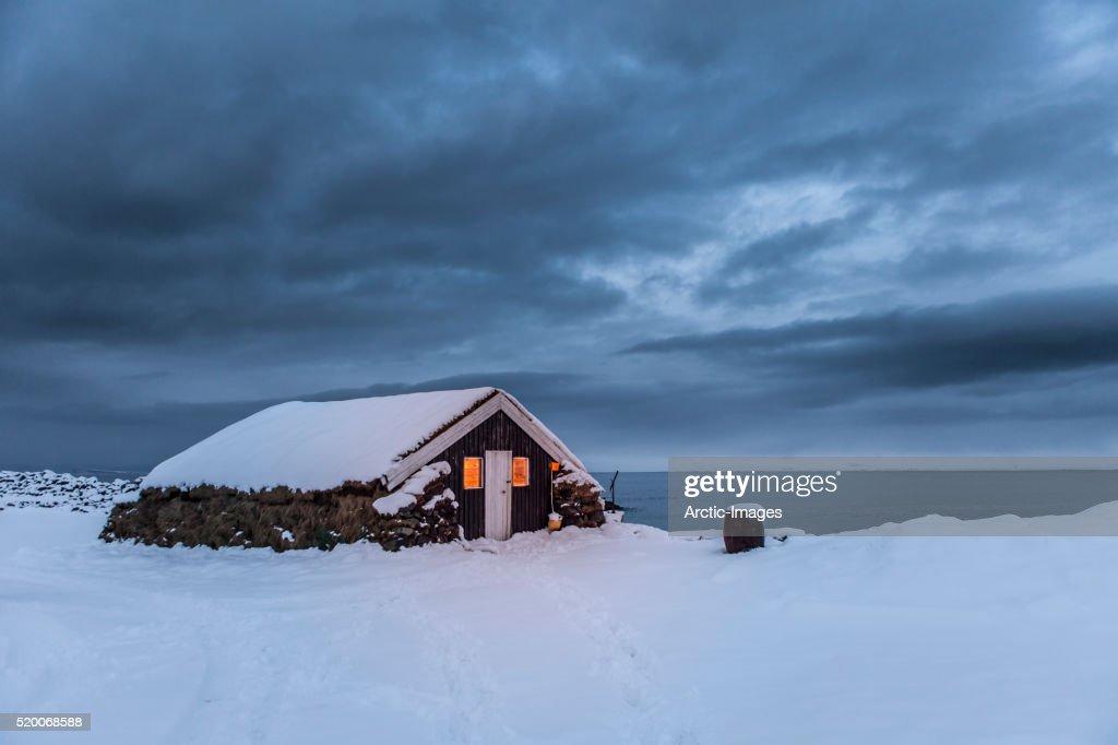 Farmhouse with Turfed roof, Skagafjordur, Iceland