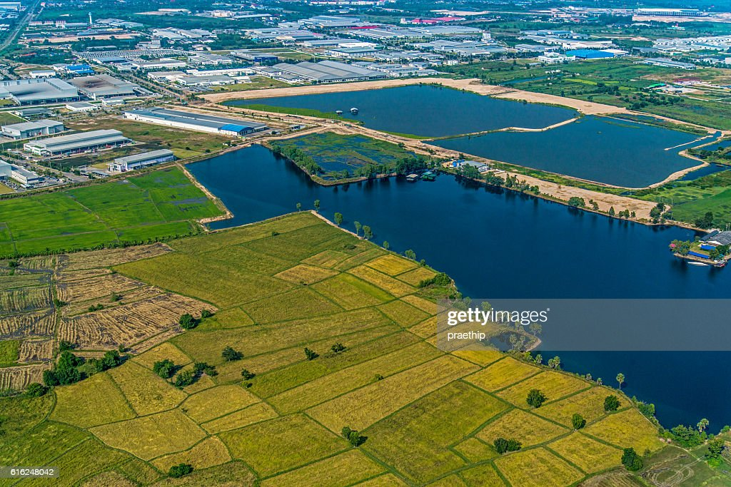 Farming, Industrial Estate Water Reservoir Aerial Photography : Stock Photo