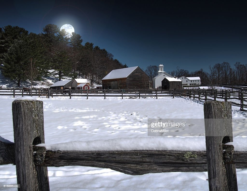 farming town at night : Stock Photo
