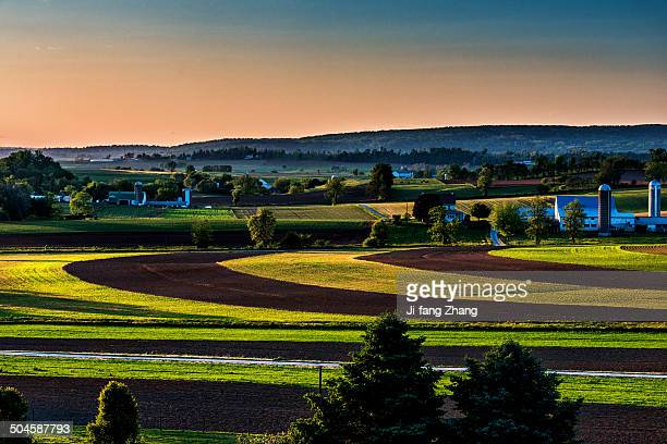 Farmland at sunset