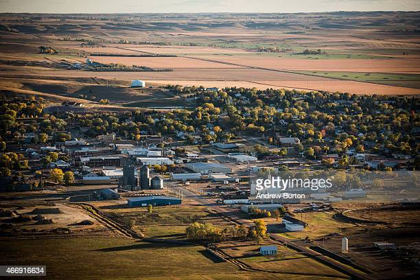 Farms and homes are seen near where the proposed Keystone XL pipeline would pass on October 13 2014 in Winner South Dakota