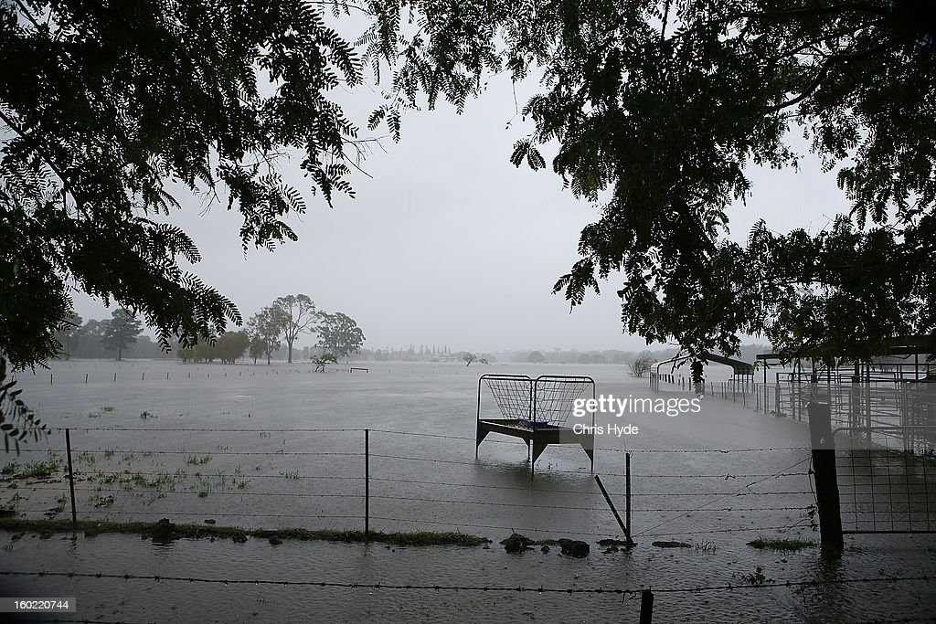 Farms in Carrara flood as Queensland experiences severe rains and flooding from Tropical Cyclone Oswald on January 28, 2013 in Gold Coast, Australia. Hundreds have been evacuated from the towns of Gladstone and Bunderberg while the rest of Queensland braces for more flooding.