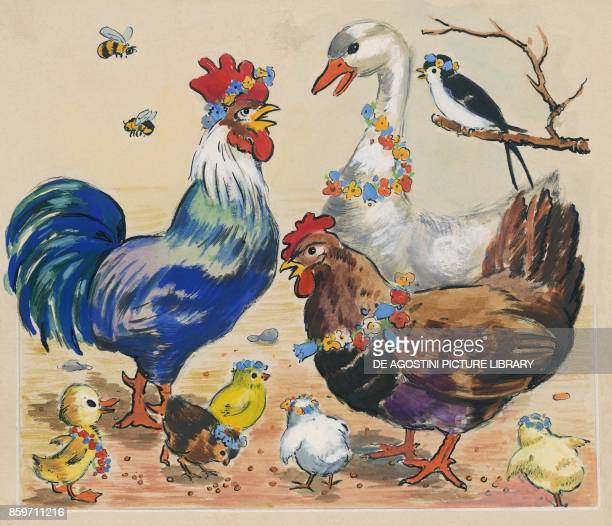 Farmyard animals with flower crowns and necklaces children's illustration drawing