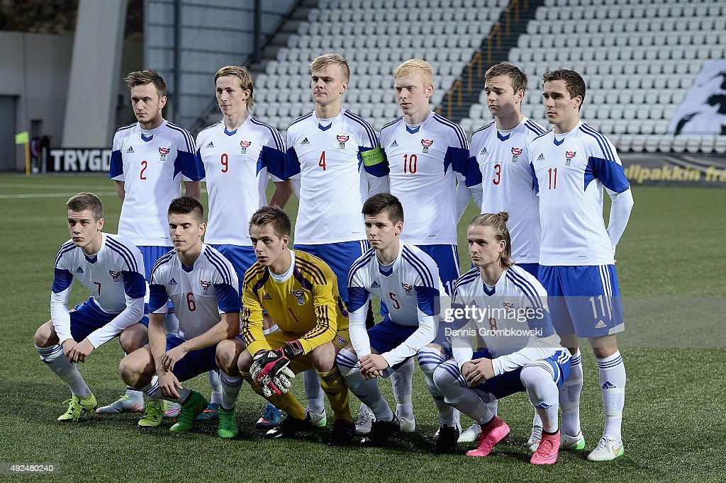Faroe Island team line up prior to kickoff during the 2017 UEFA European U21 Championships Qualifier between U21 Faroe Islands and U21 Germany at...