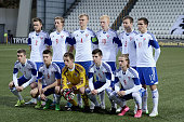Faroe Island team line up prior to kickoff during the 2017 UEFA European U21 Championships Qualifier between U21 Faroe Islands and U21 Germany at...