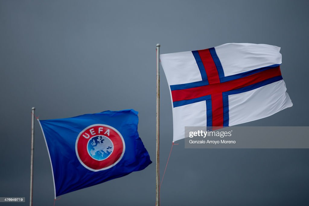 Faroe Islands flags and UEFA flag flutter prior to start the International Friendly football match between Gibraltar and Faroe Islands at Victoria...