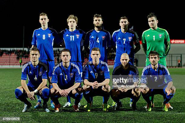 Faroe Islands line up prior to start the International Friendly football match between Gibraltar and Faroe Islands at Victoria Stadium on March 1...
