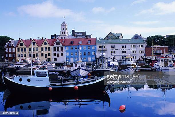 Faroe Islands Torshavn Harbor With Boats