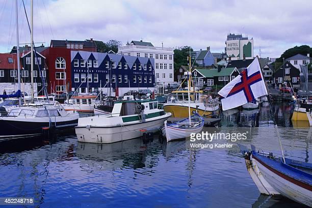 Faroe Islands Torshavn Harbor With Boats