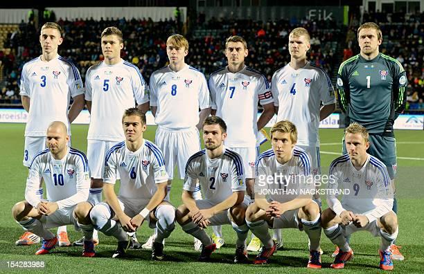 Faroe Islands's national football team players Pol Johannus Justinussen Rogvi Baldvinsson Simun Samuelsen Frodi Benjaminsen Odmar Faero and...