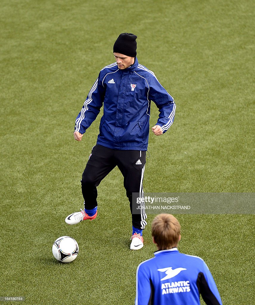 Faroe Islands's national team football player Rogvi Baldvinsson attends a training session on October 15, 2012, one day before the FIFA 2014 World Cup group C qualifying football match Faroe Islands vs Ireland at the Torsvollur stadium in Torshavn. AFP PHOTO / JONATHAN NACKSTRAND