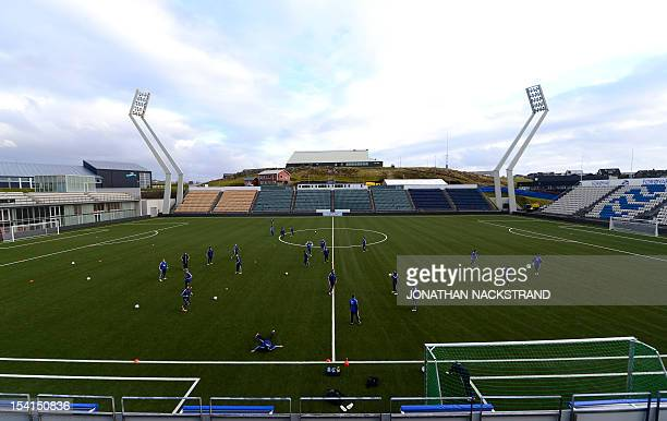Faroe Islands's national team football players attend a training session on October 15 a day before the FIFA 2014 World Cup group C qualifying...