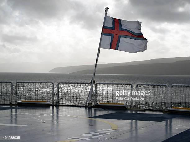 Faroese flag at ferry in Torshavn, Streymoy Island, Faroe Islands