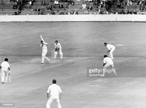 Farokh Engineer batting for India during the Third Test against England at the Oval London August 1971 India won the test by four wickets and won the...