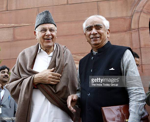 Farooq Abdullah and Jashwant Singh at the Parliament House in New Delhi on Monday February 28 2011