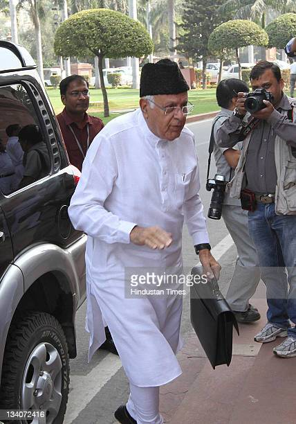 Farooq Abdullah arrives at Parliament house during the third day of winter session at Parliament House on November 24 2011 in New Delhi India...