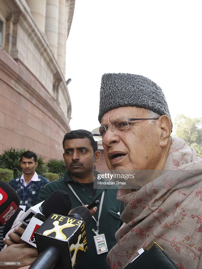 Farooq Abdullah,Minister of New and Renewable Energy at Parliament House during the winter session, on November 23, 2012 in New Delhi, India.