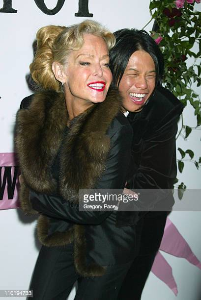 Farrah Fawcett and Designer Zang Toi during Olympus Fashion Week Fall 2004 Zang Toi Backstage and Front Row at Studio at Bryant Park in New York City...