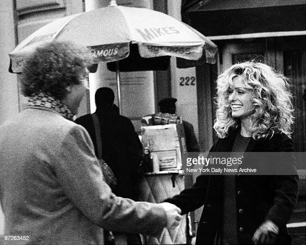Farrah Fawcett and Gene Wilder during filming today of a movie being directed by Leonard Nimoy Wilder is making his first appearance since the death...