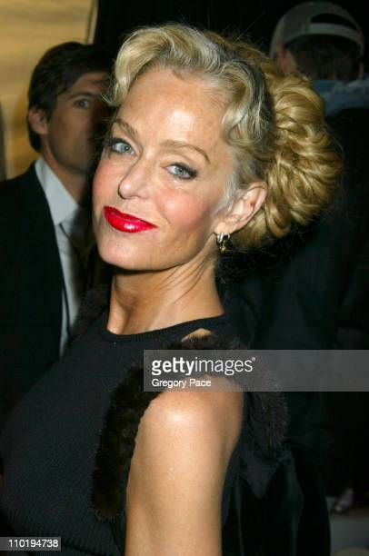 Farrah Fawcett during Olympus Fashion Week Fall 2004 Zang Toi Backstage and Front Row at Studio at Bryant Park in New York City New York United States