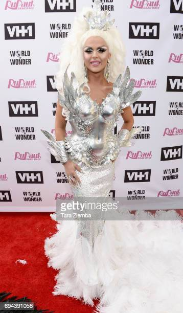 Farrah Moan arrives at 'RuPaul's Drag Race' Season 9 Finale Taping at Alex Theatre on June 9 2017 in Glendale California