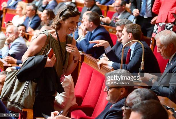 Farrigh Front National party's Member of Parliament Emmanuelle Menard arrives to listen to the French Prime Minister addressing his general policy...