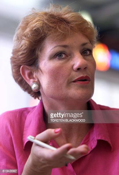 Farright antiimmigration advocate and former Member of Parliament Pauline Hanson explains her policies while campaigning in Gold Coast City 15...
