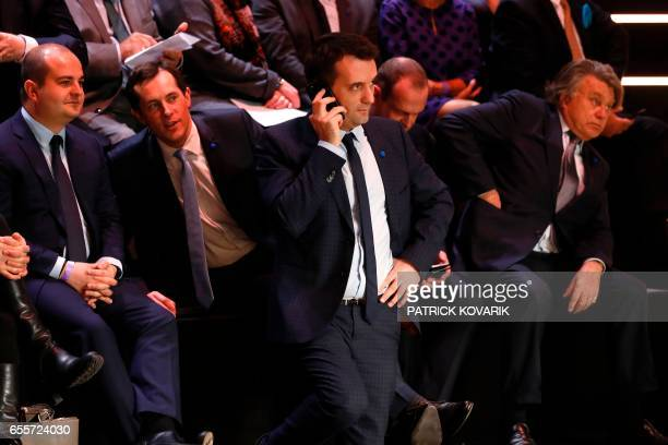 Farright Front National party Marine Le Pen's campaign director David Rachline FN VicePresident Florian Philippot and FN member of parliament Gilbert...