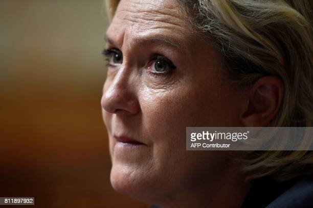 Farright Front National party's Members of Parliament Marine Le Pen looks on during a debate on July 10 2017 at the French National Assembly in Paris...