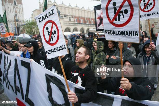 Farright nationalistic and conservative group protests against the Equality March in Krakow Poland on 13 May 2017