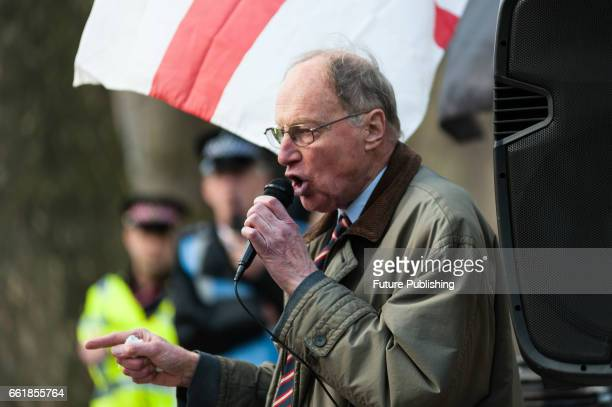 Farright political activist Richard Edmonds speaks at the proBrexit and antiimmigration 'March For Britain March For Brexit' demonstration organised...