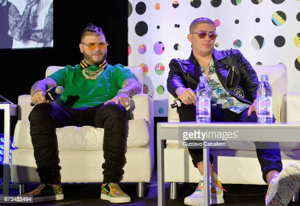 Farruko and Bad Bunny speak at the Billboard Latin Conference 2017 at Ritz Carlton South Beach on April 26 2017 in Miami Beach Florida