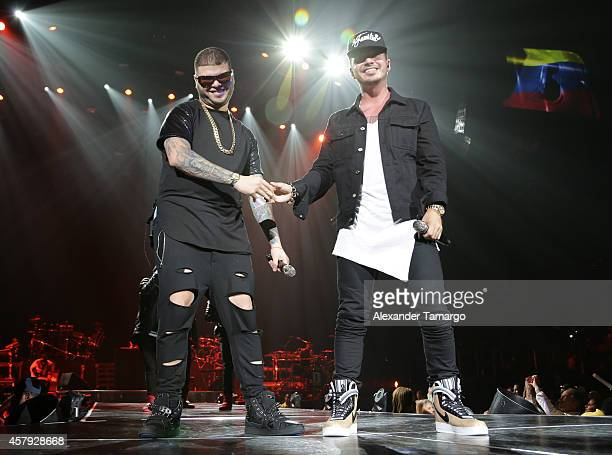 Farruko and J Balvin perform at American Airlines Arena on October 26 2014 in Miami Florida