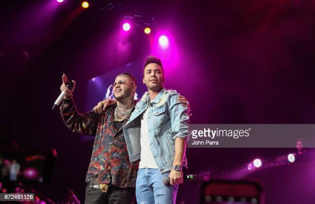 Farruko and Prince Royce perform at Miami Bash 2017 at American Airlines Arena on April 23 2017 in Miami Florida