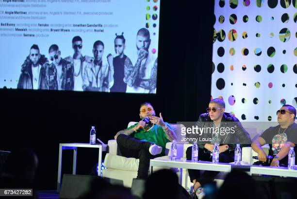 Farruko Bad Bunny and Jonathan Gandarilla during The Billboard Latin Music Conference Awards The Latin Trap Session panel at Ritz Carlton South Beach...