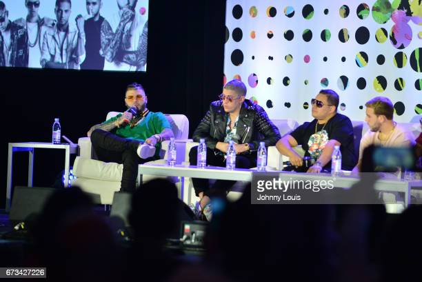 Farruko Bad Bunny Jonathan Gandarilla and Messiah during The Billboard Latin Music Conference Awards The Latin Trap Session panel at Ritz Carlton...