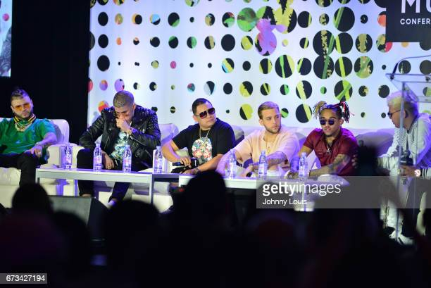 Farruko Bad Bunny Jonathan Gandarilla Messiah Bryant Myers and Noriel during The Billboard Latin Music Conference Awards The Latin Trap Session panel...