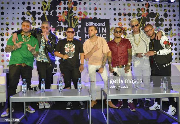 Farruko Bad Bunny Jonathan Gandarilla Messiah Bryant Myers Noriel Santana and Angie Martinez during The Billboard Latin Music Conference Awards The...