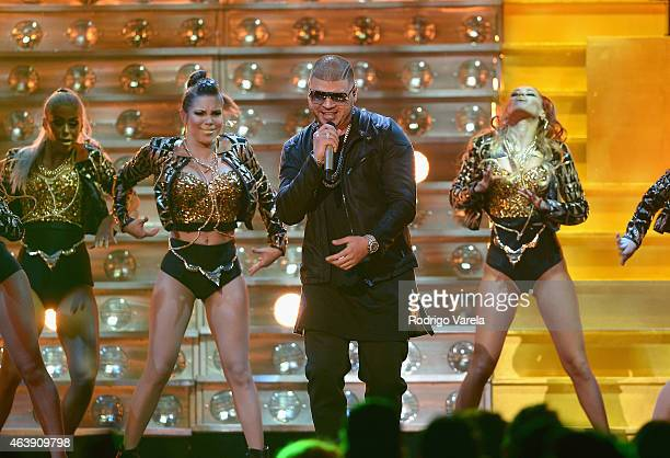 Farruko performs on stage at the 2015 Premios Lo Nuestros Awards at American Airlines Arena on February 19 2015 in Miami Florida
