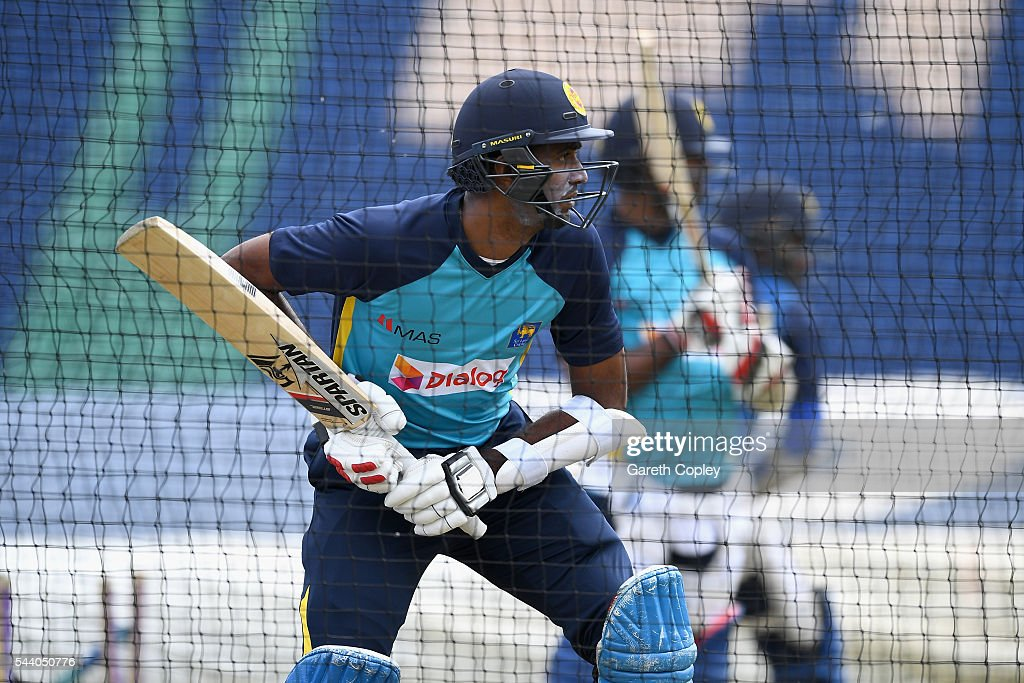 <a gi-track='captionPersonalityLinkClicked' href=/galleries/search?phrase=Farveez+Maharoof&family=editorial&specificpeople=555028 ng-click='$event.stopPropagation()'>Farveez Maharoof</a> of Sri Lanka bats during a nets session at SWALEC Stadium on July 1, 2016 in Cardiff, England.
