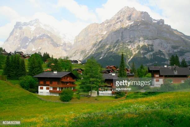 Fary tale landscape: idyllic Grindelwald rustic chalets, alpine village cityscape valley and meadows, dramatic swiss snowcapped Wetterhorn alps, idyllic countryside, Bernese Oberland,Swiss Alps, Switzerland