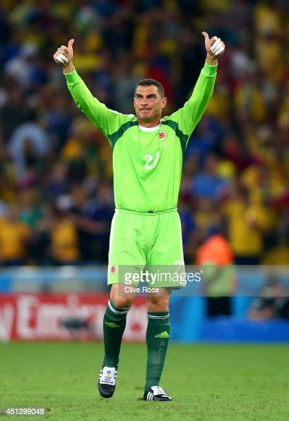 Faryd Mondragon of Colombia celebrates defeating Uruguay 20 in the 2014 FIFA World Cup Brazil round of 16 match between Colombia and Uruguay at...