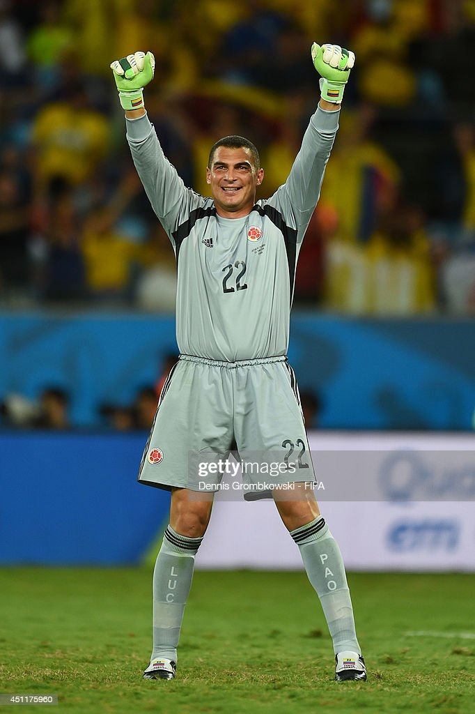Faryd Mondragon of Colombia celebrates during the 2014 FIFA World Cup Brazil Group C match between Japan and Colombia at Arena Pantanal on June 24, 2014 in Cuiaba, Brazil.