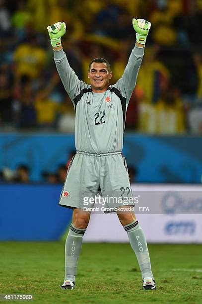 Faryd Mondragon of Colombia celebrates during the 2014 FIFA World Cup Brazil Group C match between Japan and Colombia at Arena Pantanal on June 24...