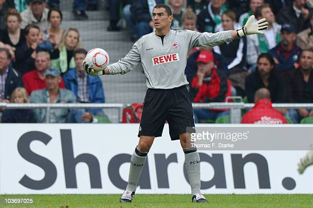 Faryd Mondragon of Koeln reacts during the Bundesliga match between Werder Bremen and 1 FC Koeln at the Weser Stadium on August 28 2010 in Bremen...