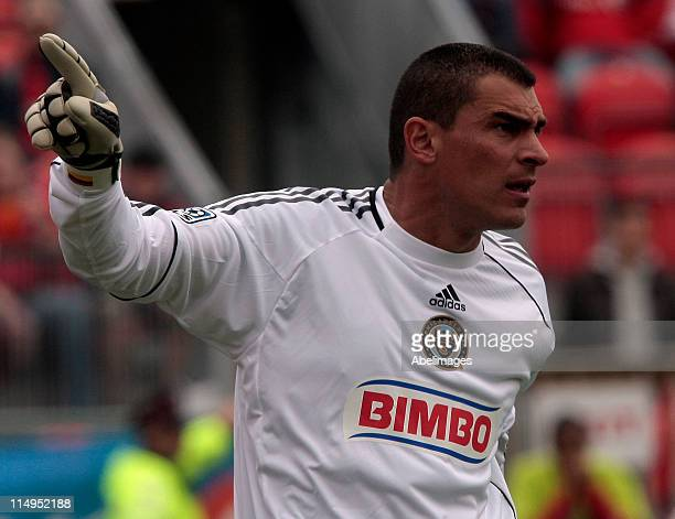 Faryd Mondragon of Philadelphia Union directs his team during MLS action against Toronto FC at BMO Field May 28 2011 in Toronto Ontario Canada The...